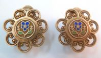 Vintage Pair Of Enamel Violet Floral Design Dress Clips.